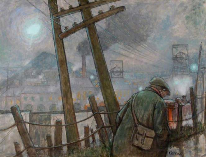 Cornish, Norman Stansfield, 1919-2014; Pit Road with Telegraph Pole and Lights