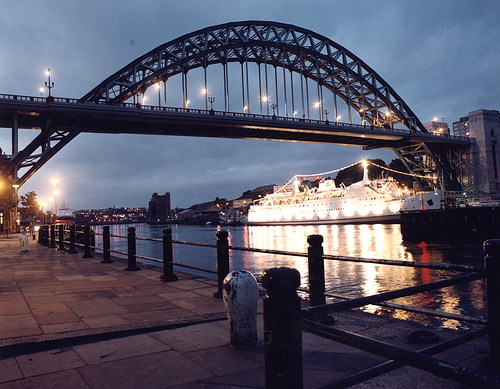 044891:Tyne Bridge at dusk.  City Engineers Newcastle City Council.  1984